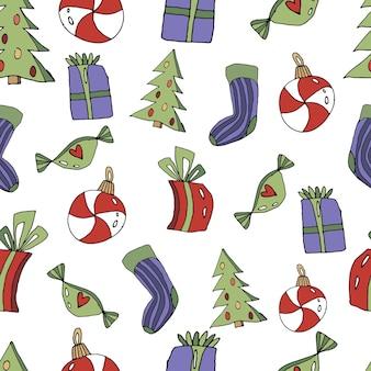Schattig naadloze kerstpatroon in cartoon-stijl sokgeschenken kerstboom speelgoed snoep
