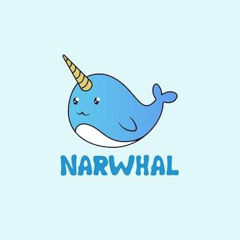 Schattig narwal logo conceptontwerp
