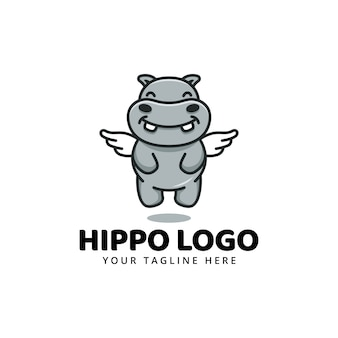 Schattig nijlpaard nijlpaard mascotte cartoon logo