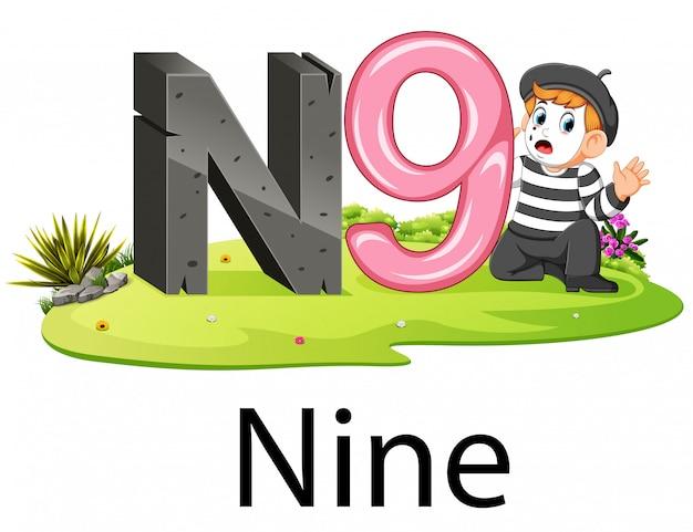 Schattig nummer alfabet n voor negen met de pantomime