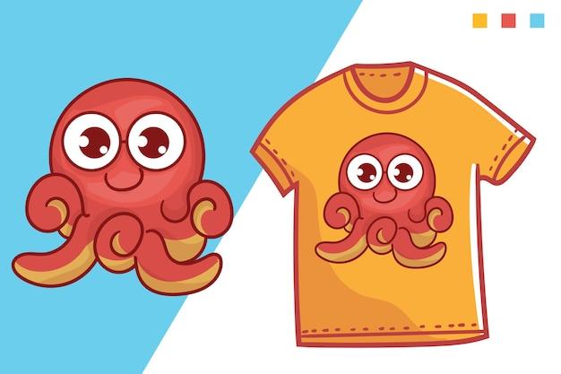 Schattig octopus t-shirt sjabloonontwerp Premium Vector