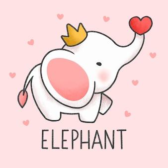 Schattig olifant cartoon hand getrokken stijl