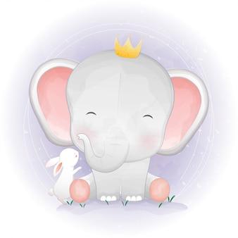 Schattig olifant en konijn