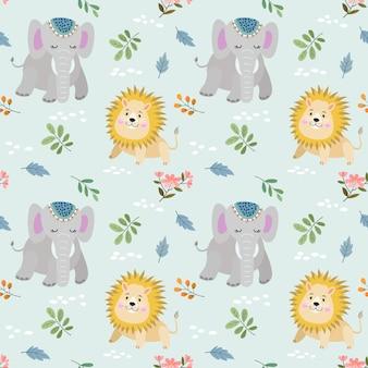 Schattig olifant en leeuw naadloos patroon.