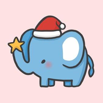 Schattig olifant en ster kostuum kerst hand getekend cartoon