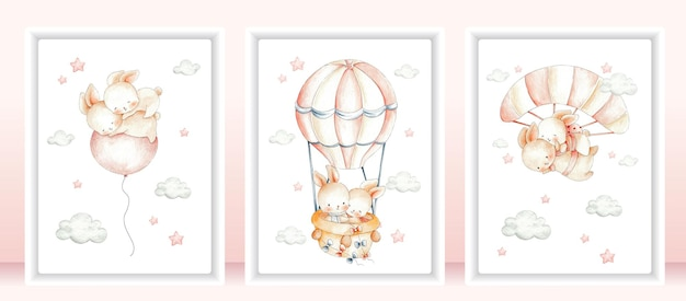 Schattig paar konijn kaarten instellen aquarel illustratie