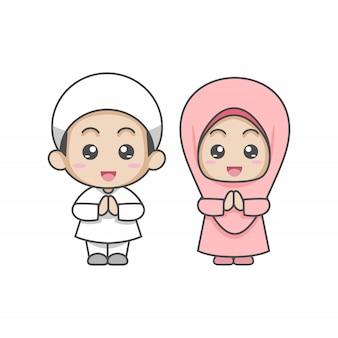 Schattig paar moslim kinderen groeten salaam