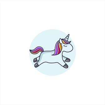 Schattig paard cartoon logo vector pictogram illustratie