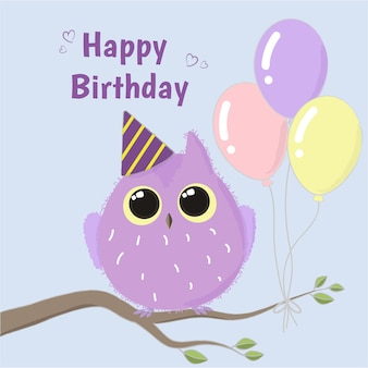 Schattig paarse uil gelukkige verjaardag vector kaart.