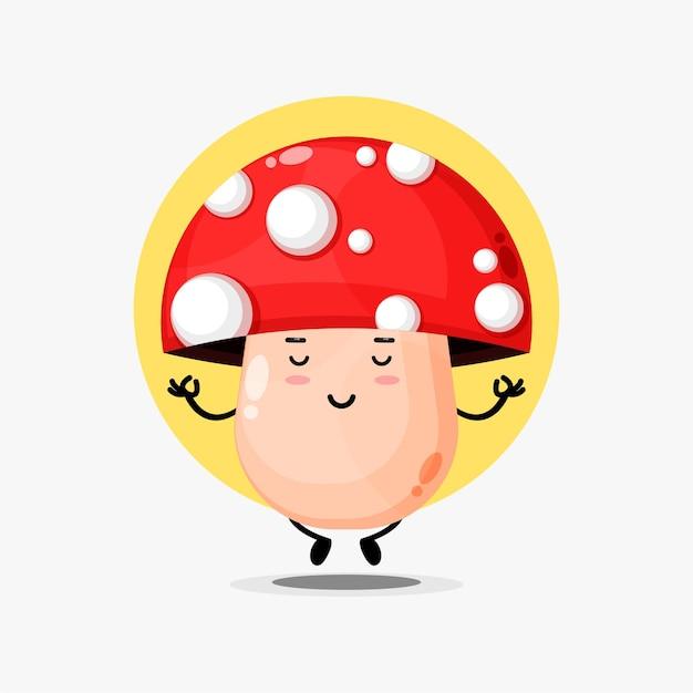 Schattig paddenstoelkarakter dat mediteert in yogahouding