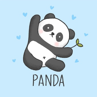 Schattig panda cartoon hand getrokken stijl