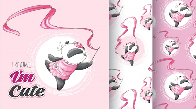 Schattig panda patroon vector set