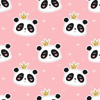 Schattig panda prinses naadloze patroon
