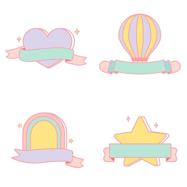 Schattig pastel emblemen vector set