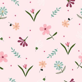 Schattig pastel naadloze bloemmotief