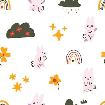 Schattig pastelkleur scandinavische stijl bunny maan wortel naadloos patroon