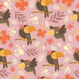 Schattig patroon met papegaaien en bloemen