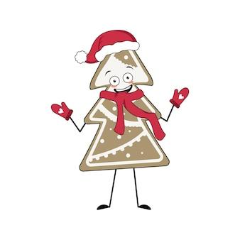 Schattig peperkoekkoekje karakter in de vorm van een vrolijke kerstboom met emoties glimlach armen en...