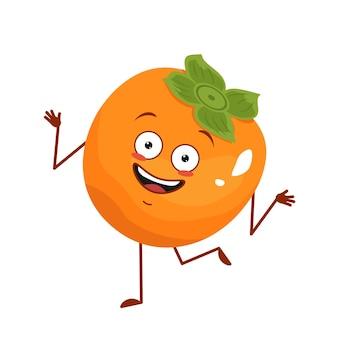 Schattig persimmon karakter vrolijk met emoties dansen, gezicht, armen en benen