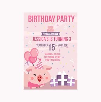 Schattig pink varken verjaardagsfeestje uitnodiging meisje