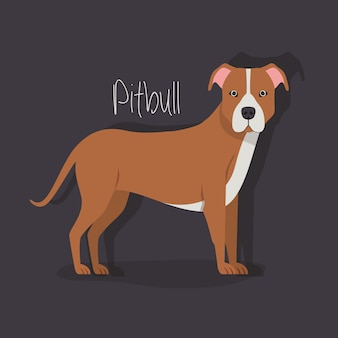 Schattig pitbull hond huisdier karakter