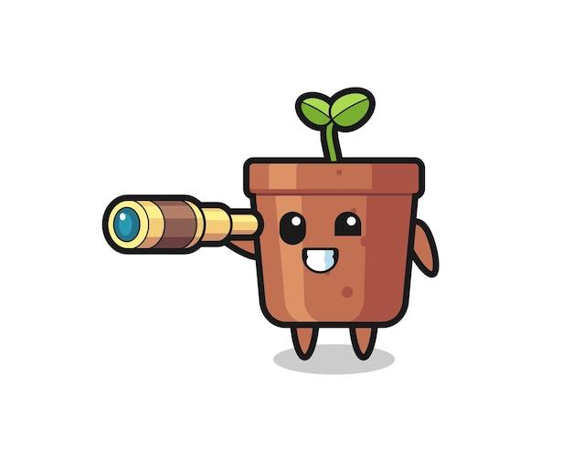 Schattig plantpotkarakter houdt een oude telescoop vast, schattig stijlontwerp voor t-shirt, sticker, logo-element