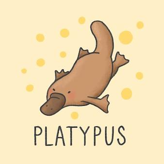 Schattig platypus cartoon hand getrokken stijl