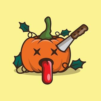 Schattig pompoen zombie karakter