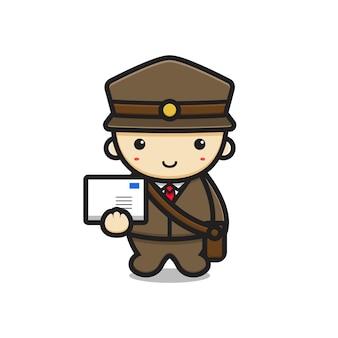 Schattig postbode mascotte karakter houden brief vector cartoon pictogram illustratie. ontwerp geïsoleerd op wit. platte cartoonstijl.