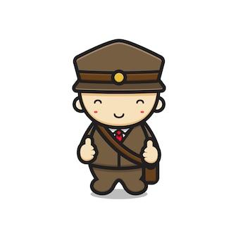 Schattig postbode mascotte karakter met goede pose vector cartoon pictogram illustratie. ontwerp geïsoleerd op wit. platte cartoonstijl.