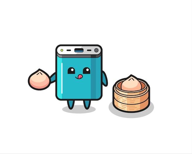 Schattig powerbank-personage dat gestoomde broodjes eet, schattig stijlontwerp voor t-shirt, sticker, logo-element