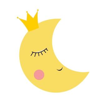 Schattig prinses maan in gouden kroon