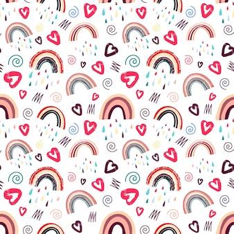 Schattig regenboog- en hartenpatroon romantisch patroon