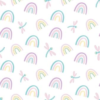 Schattig regenboog en libel naadloos patroon. vector illustratie