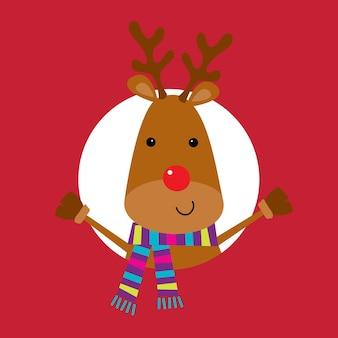 Schattig rendier met kleurrijke sjaal schattig kerstkarakter