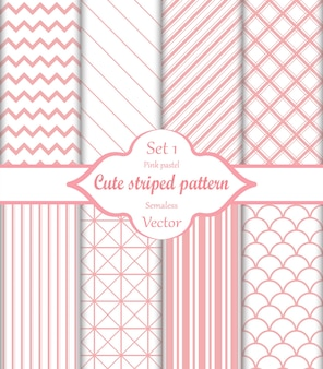 Schattig roze naadloze patroon set 1