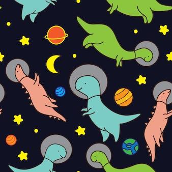 Schattig ruimtedinosaurussen naadloos patroon Premium Vector