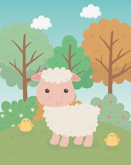 Schattig schapen dieren boerderij karakter