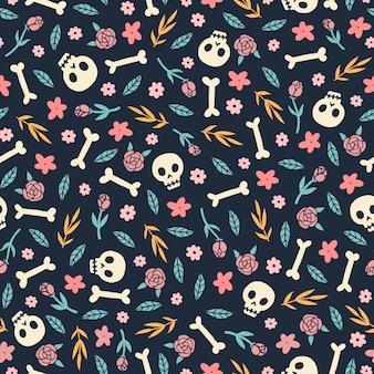 Schattig schedels bloemen en planten naadloos patroon