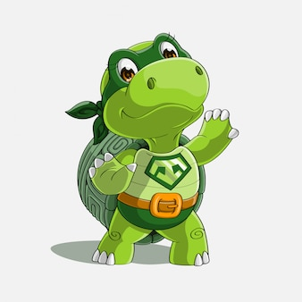 Schattig schildpad super held cartoon hand getrokken