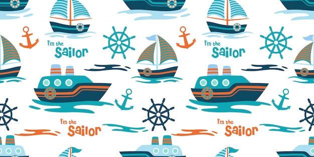 Schattig schip en jacht naadloos patroon
