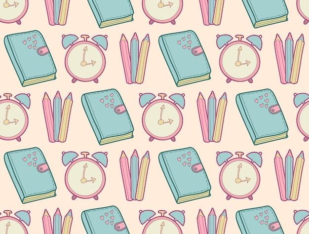 Schattig school naadloos patroon met dagboek, wekker, kleurpotloden.