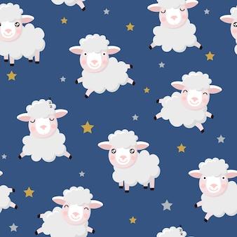 Schattig sheeps en sterren naadloos patroon