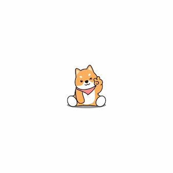 Schattig shiba inu hond knipogend oog cartoon icoon
