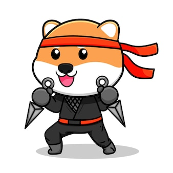 Schattig shiba inu ninja-ontwerp