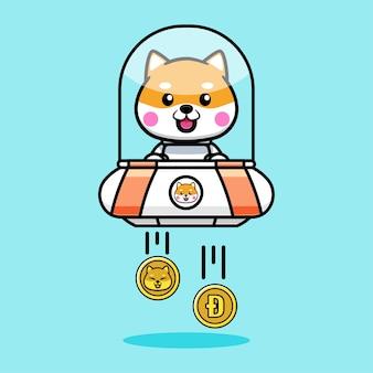 Schattig shiba inu-ontwerp met ufo en dogecoin