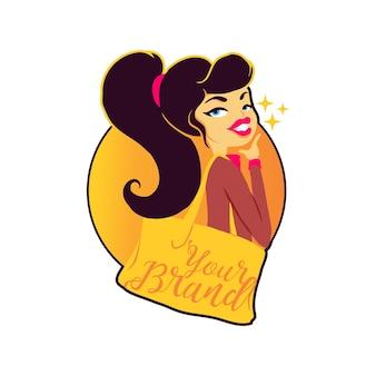 Schattig shopping girl mascotte-logo
