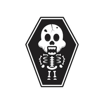 Schattig skelet halloween in doodskist cartoon pictogram illustratie. ontwerp geïsoleerde platte cartoonstijl