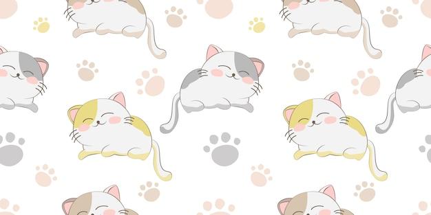 Schattig slapende kat naadloze patroon