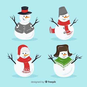 Schattig sneeuwpop karakter collectie in platte ontwerp